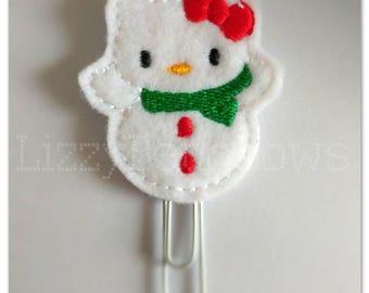 Planner clip, bookmark, planner feltie clip, felt bookmark, Christmas kitty feltie clip,  christmas clip, snowman cat, Christmas in July