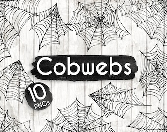 Halloween Spider Web Clipart - Hand Drawn Halloween Clip art - Spider Web Vector Art - Halloween Elements - Spider Illustration - ACGABW25