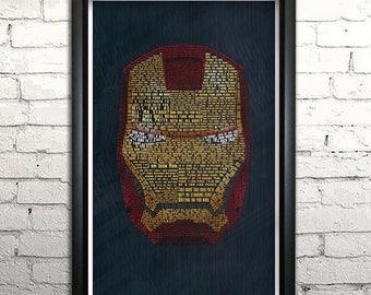 "Iron Man word art print - 11x17"" Framed"