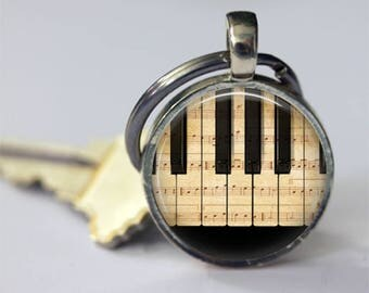 Piano Keychain Musical Instruments Sheet Music Musicians Key Chain Key Fob in Bronze or Silver