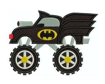 BATMAN Monster Truck Superhero Machine Applique Embroidery - Instant Digital Download