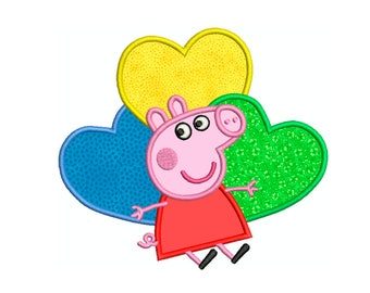 PEPPA PIG HEARTS * Machine Applique Embroidery * Instant Digital Download