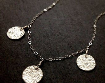 "SALE Tiny Moon Medallion Trio Sterling Silver Necklace in 20"" 21"" 22"" 23"" 24"" length"