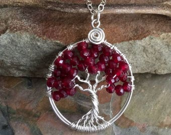 Garnet Necklace,Garnet Pendant,Garnet Tree of Life Necklace with .925 Sterling Silver Chain,Petite/Small January Birthstone Tree of Life