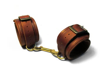 Leather PADDED BONDAGE CUFFS in Rust and Antique Brass - Mature