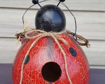 Ladybug gourd birdhouse