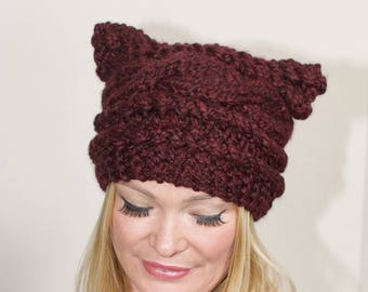 Women Beanie Cat hat Pussy hat cat beanie Cat ears hat CHOOSE COLOR Burgundy Women Beanie  Cat ears beanie Pussyhat  Christmas Gift under 50