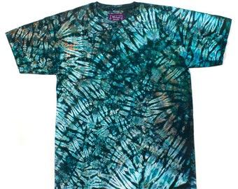 L Shibori Tie Dye Men's T Shirt Malachite Jade Large