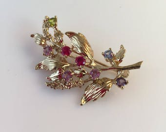Branch Pin, Mothers Brooch, Multi colored Rhinestones, Birthstones, Gold tone, Vintage Jewelry, Signed STER P.C.