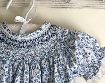 Blue Floral Smocked Bishop Dress