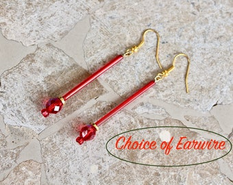 Reclaimed Vintage Earring Assemblage, Pierced, Gold, Red Glass, Long, Crystal, Upcycled, pierced clip options, Jennifer Jones - Firecrackers