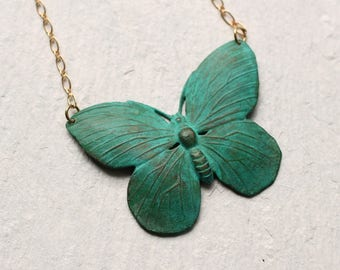 Turquoise Butterfly Necklace  ... Green Turquoise Verdigris Moth Pendant