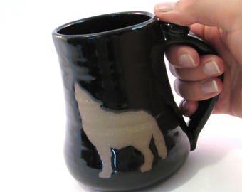 Howling Wolf Mug - Coffee Mug - Wolf Mug - Black Mug - Handmade Pottery - Pottersong - Animal Silhouette - Black Wolf Mug