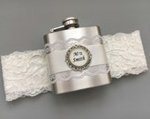 Ivory Flask Garter, Personalized Flask with Bridal Garter, Custom Wedding Garter, Ivory Lace Garter, Ivory Wedding Garter with Hip Flask