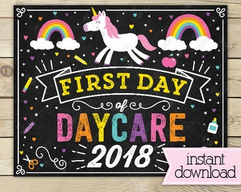 Unicorn First Day of Daycare Sign - Girl First Day of Daycare Sign - First Day of School Sign Printable - Instant Download - Daycare