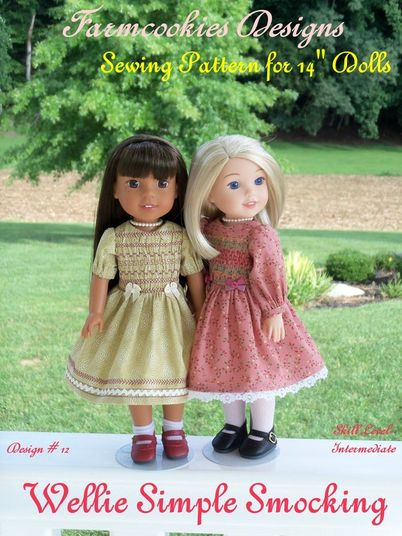"Wellie Wisher® Printed Sewing Pattern: WELLIE SIMPLE SMOCKING /Pattern for 14"" American Girl  Wellie Wishers®"