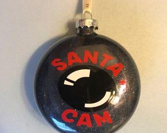 Santa cam glass ornaments