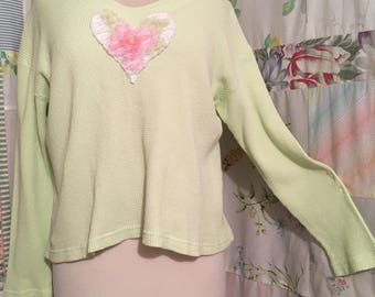 LARGE, Top Bohemian Hippie Green Flowerchild Heart Cotton Top