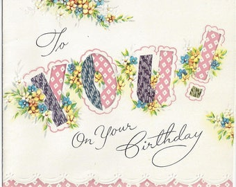 Vintage Made in USA Happy Birthday Greeting Card, 1950s