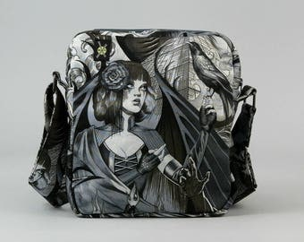 Gothic Horror Punk Small Crossbody Bag, Zipper Closure, Fabric Purse with Pockets, Black and White, Sorceress, Raven, Bats, Death Rock
