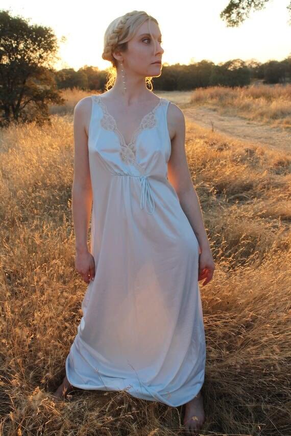 SILVER Slip Dress 1970's Vintage Night Gown Lingerie Stunning Lace Neckline Powder Blue Nightie Maxi Length Size Medium Sears