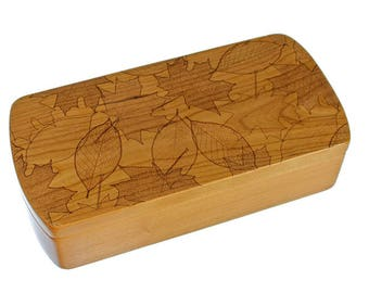 Leaves Pattern Wooden Storage Box, Solid Cherry, Pattern M8 laser engraved, Paul Szewc, Masterpiece Laser