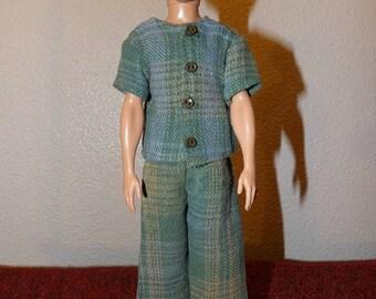 Green plaid Flannel pajamas for male fashion dolls - kdc107