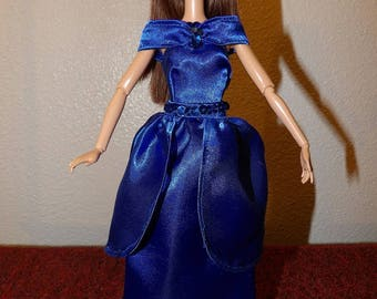 Beautiful 2 in 1 royal blue Satin formal dress for Fashion Dolls - ed1046