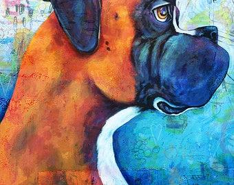 Boxer and the Bee print Dog Art Print Pet Art boxer Portrait Print