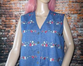 Women's Koret City Blues Blue Jean Vest Embroidered Flowers Ties In Back S