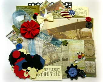 Vintage Traveler Inspiration Kit/ Embellishment Kit/ Junk Journal Kit for Scrapbooking, Layouts, Cards, Mini Albums, Tags and Paper crafts