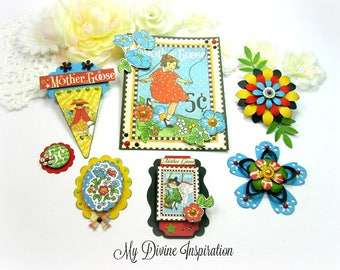 Graphic 45 Handmade Mother Goose  Paper Embellishments and Paper Flowers for Scrapbook Layouts Cards Mini Albums Tags and Papercrafts