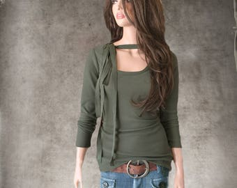 Neck tie top/Deep scoop neck/Olive knit woman/long sleeve