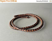 30% OFF Braided Leather, Black and Brown Braided Leather, Jewelry Supplies, Leather Bracelet, 19 Inches