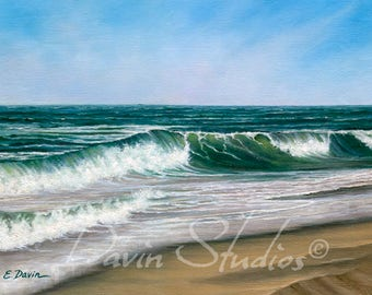 "Seascape, waves crashing, ocean art, ocean waves giclee print called ""Serenity."""