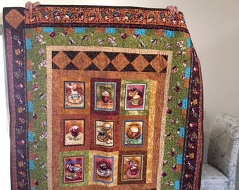 Quilted Coffee themed  Lap Quilt/Wall hanging/Table Topper - cb