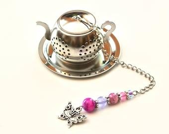 Butterfly Tea Infuser with Pink & Purple Beads, Teapot Tea Ball Infuser, Beaded Mesh Tea Ball, Mad Hatter Tea Party,  High Tea, Tea Gift