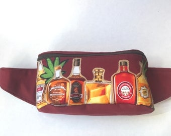 Weed and Whiskey Fanny Pack Festival Bag Bum Bag Hip Bag Utility Belt Purse Backpack Marsupial Pouch with Zipper