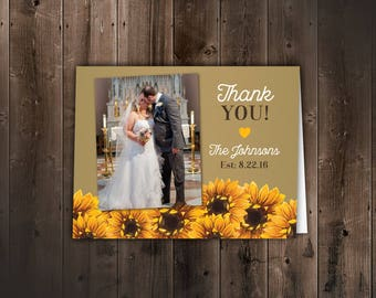 10 Sunflower Wedding Thank you Cards -- Folded Thank you Cards with photo -- Burlap wedding, country, wedding stationery, Wooden background