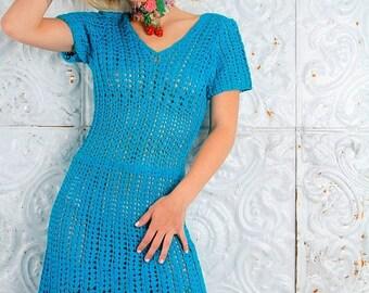 MEMORIAL SALE Vintage Crochet 60s Dress A-Line Fan Pattern  // Vintage Clothes by TatiTati Style on Etsy