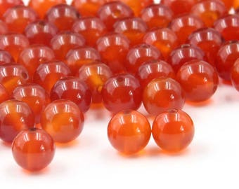 8mm 95Pcs Red Agate Gemstone Beads Loose Finding For Handwork-- ja2072