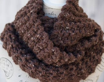 Chunky Knit Infinity Scarf - Brown Tweed Infinity Scarf - Brown Knit Cowl - Mobius Knit Scarf