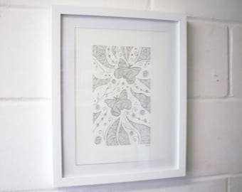 Butterfly Drawing, Abstract Art, Abstract Ink Drawing.