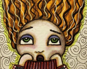 HAIR RAISING, ACEO, Mini Art Print, Halloween, Art, Doodle Art, Pen and Ink, Gift Card, Trading Card, Pen and Ink, Art Print, Art Card