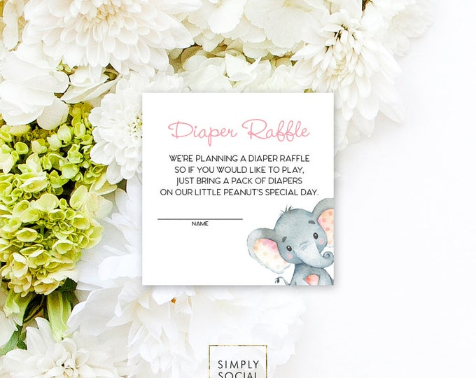 INSTANT DOWNLOAD Elephant Baby Shower Diaper Raffle insert Pink Boho Elephant Jungle Watercolor Calligraphy PRINTABLE