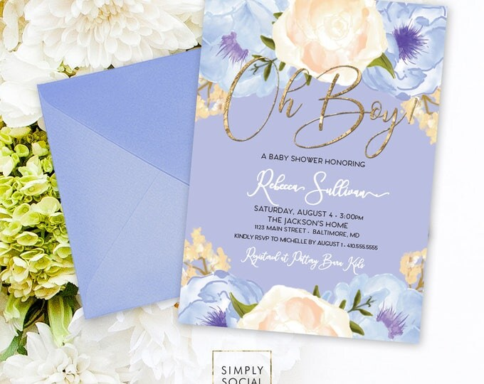 Blue Floral Baby Shower Invitation - Oh Boy It's a Boy Roses Peony Hydrangea Faux Gold Foil Boho Flowers Watercolor Printable Party Invite