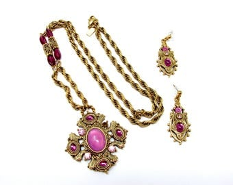 1928 Co. Pink & Purple Glass Pendant Necklace Matching Earrings