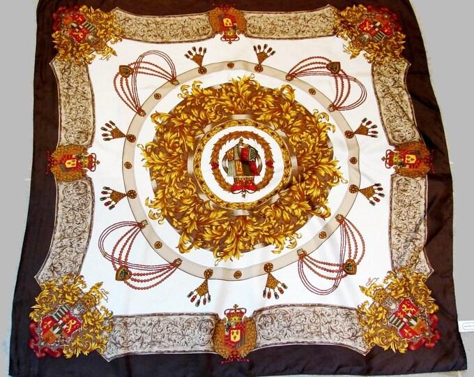 Vintage Adrienne Vittadini Hearts & Crown Silk Scarf