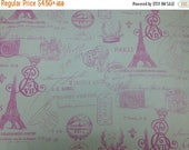 50% off SALE - Paris Postcards - Pink - Duck Cloth - Home Decor