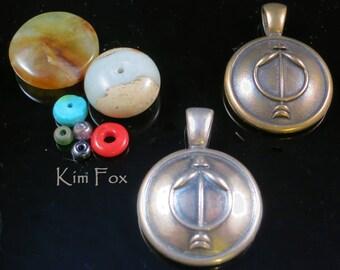 Round One Inch Sagittarius Pendant - Nov 23 Dec 22 - in Solid Golden Bronze or Sterling Silver by Kim Fox
